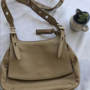 Nine West taupe shoulder bag with flowery strap